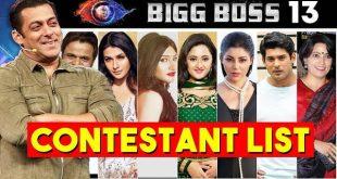 Big Boss 13 candadite list